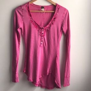 We The Free hot pink burnout crochet henley shirt
